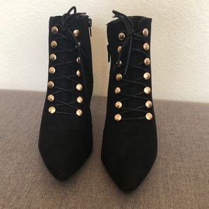 Shoes - 2 for $40 Black Button Front Heeled Booties